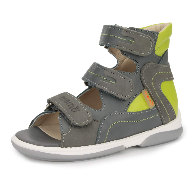 Memo Michael Corrective Orthopedic High-Top AFO Leather Sandal, Grey/Green, 22 (6.5 M US Toddler)