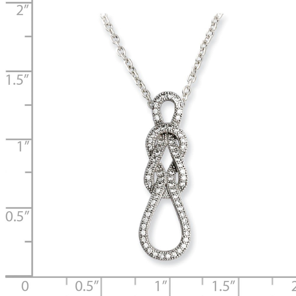 925 Sterling Silver Cubic Zirconia Cz Love Knot Chain Necklace Pendant Charm S//love Fine Jewelry Gifts For Women For Her