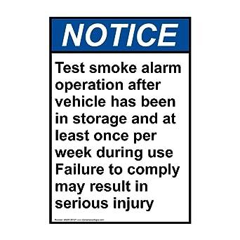 Amazon.com: Señal de funcionamiento de alarma de humo con ...