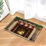 CdHBH Christmas Decor Tree Fireplace with Xmas Sock for Kids Bath Rugs Non-Slip Doormat Floor Entryways Indoor Front Door Mat Kids Bath Mat 15.7x23.6in Bathroom Accessories