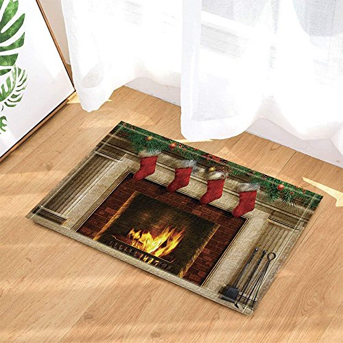 CdHBH Christmas Decor Tree Fireplace with Xmas Sock for Kids Bath Rugs Non-Slip Doormat Floor Entryways Indoor Front Door Mat Kids Bath Mat 15.7x23.6in Bathroom Accessories by CdHBH