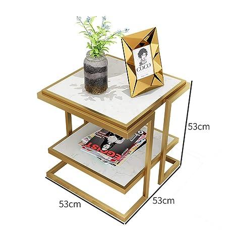 Amazon.com: Mesa auxiliar cuadrada de mármol de 2 niveles ...