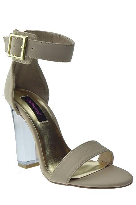 Amazon.com | Glass Womens Clear Chunky Heel Anckle Buckle Platform ...