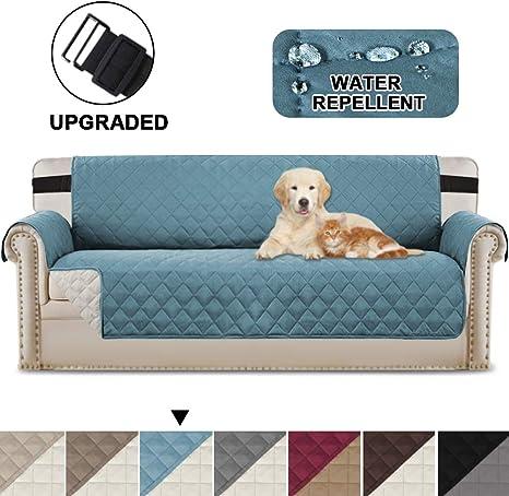 Image ofBellaHills Fundas de sofá Impermeables Fundas de sofá de 3/4 plazas Protectores de sofá para Perros/Mascotas/Fundas de Muebles para niños Impermeables (4 plazas, Azul/Beige)