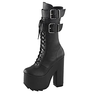 c2a67562057 Summitfashions Womens High Heel Combat Boots Black Knee High Boots  Platforms 6 1 4 Inch