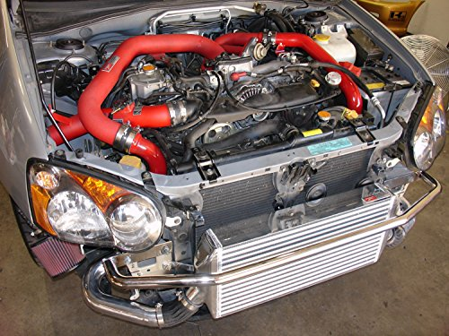 Injen Intercooler Piping Kits (Injen Technology SES1200FMPH Black Front Mount Intercooler Kit with Wrinkle Red Piping)