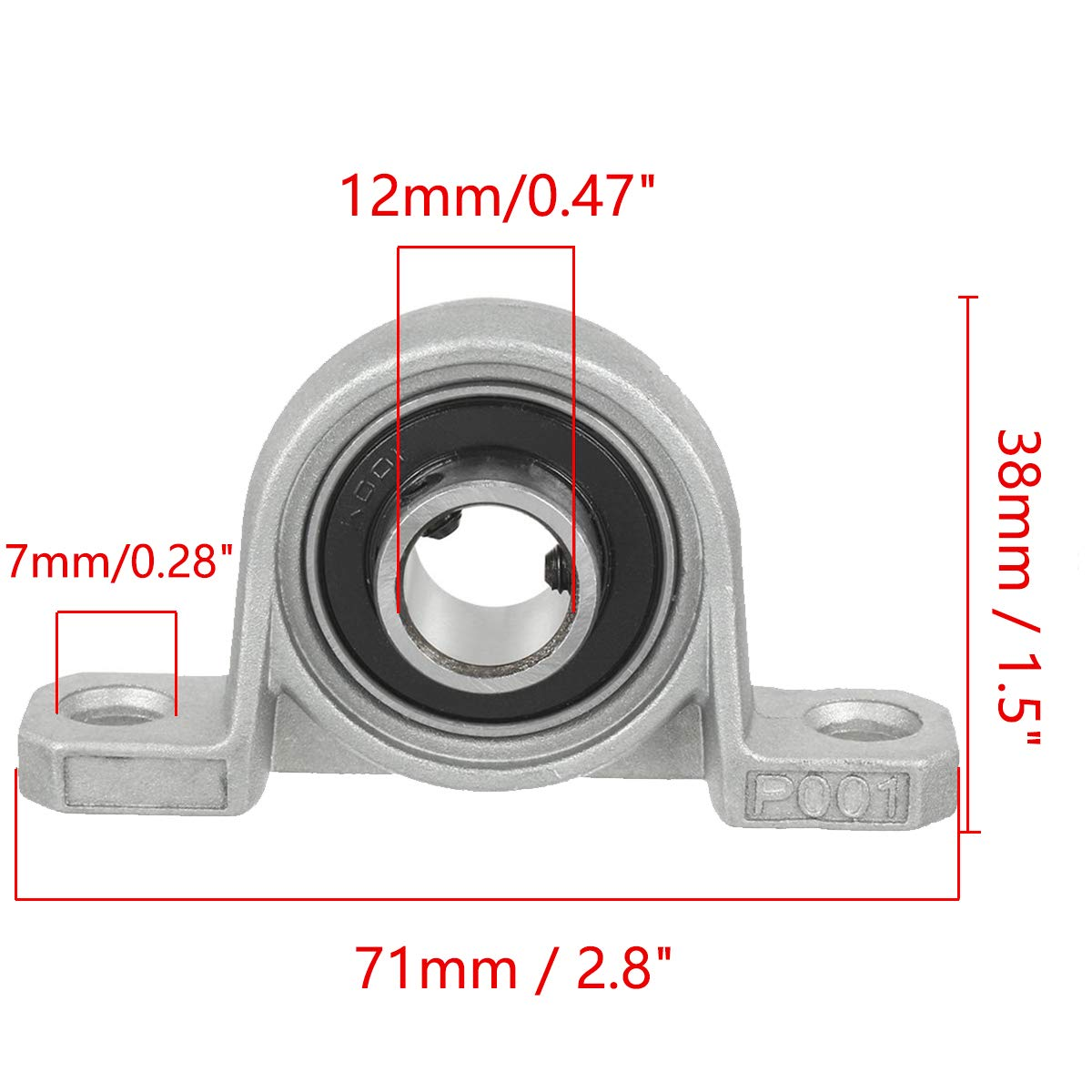 XMHF 2Pcs KP001 12mm Bore Zinc Alloy Inner Ball Mounted Pillow Block Insert Bearing