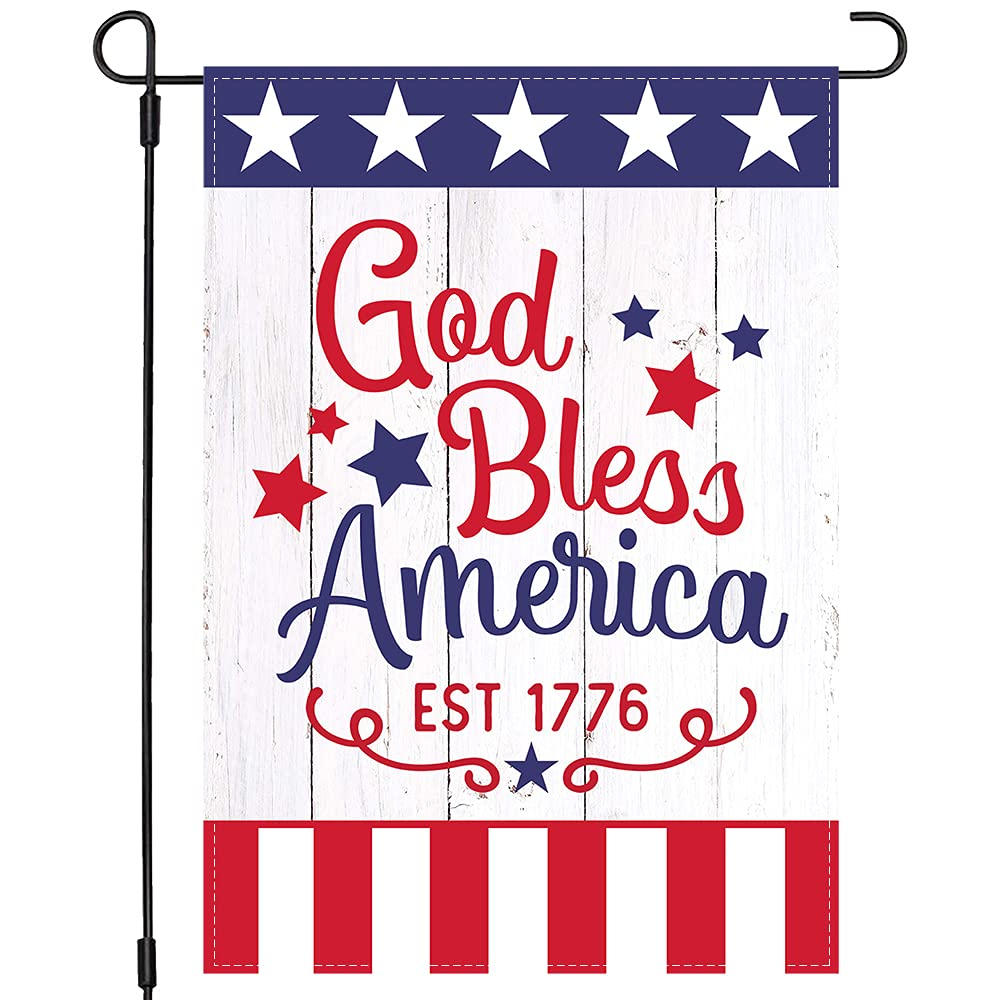 PANDICORN Patriotic God Bless America 4th of July Garden Flag 12×18 Inch Double Sided, Small Vertical Stars and Stripes Fourth of July Memorial Independence Day Garden Flag Outdoor Yard Decor