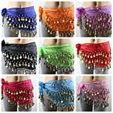 DPUS® 24 Pcs Mixed Colors Wholesale Belly Dancing Voile Dance Hip Belt Wrap 98 Coins US Seller