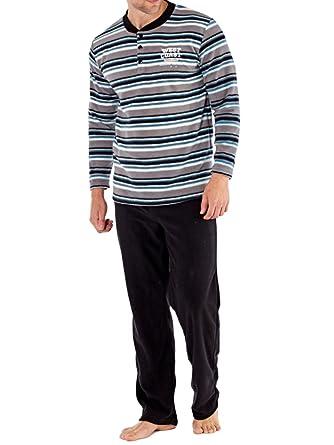 b6742d5e8 Men s Contrast Neck Stripe Thermal Fleece Pyjama Set.  Amazon.co.uk ...
