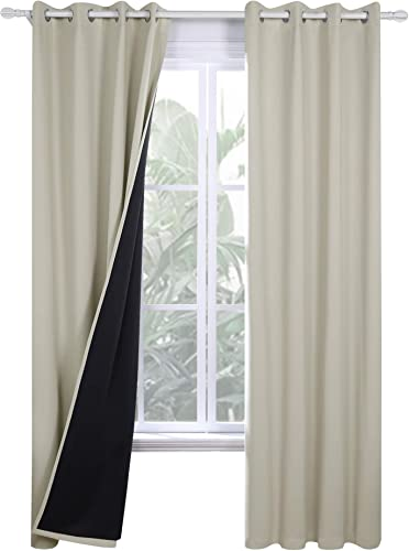 Deconovo Bedroom 100 Blackout Curtains Double Layers Thermal Insulated Drape