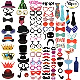 Yosemy [90 Pcs] Photo Booth Props DIY Kit for Wedding, Birthday, Party - DIY photo booth Fun Accessories
