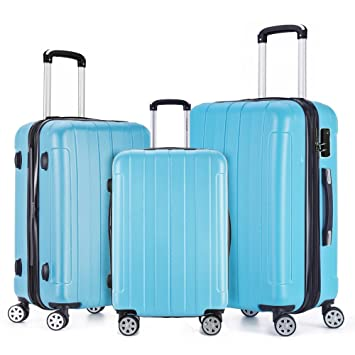 395824fae21a Fochier 3 Piece Expandable Spinner Luggage Set Lightweight Suitcase