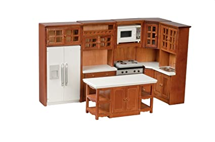 Amazon Com Dollhouse Miniature Kitchen Set Appliances And Cabinets