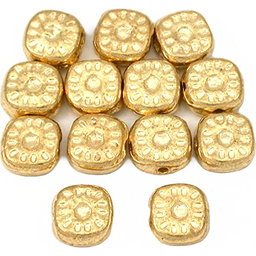 (15g Bali Square Sun Spacer Beads Gold PLT 8mm Approx 12)
