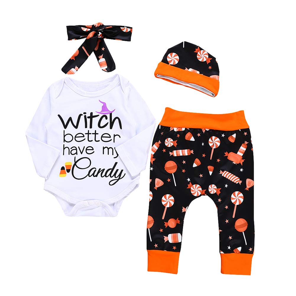 Miwear Halloween Costume Baby Boy Girl Romper + Pants + Headband + Hat Outfits