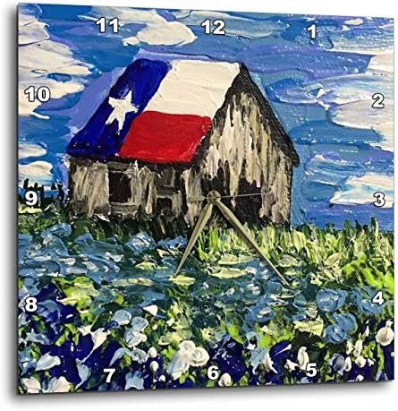 3dRose Image of Painting of Old Texas Barn with Bluebonnets – Wall Clock, 15 by 15-Inch DPP_223363_3