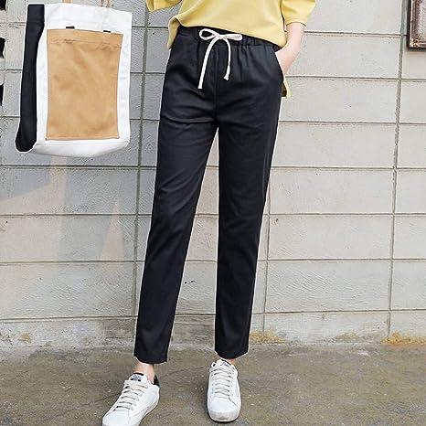 CKBYTH Pantalones Algodón Cordón Mujeres Chic Pantalón Femenino Delgado Casual Harem Pantalones Bolsillos para Mujer Mujeres Cómodas Moda: Amazon.es: Deportes y aire libre