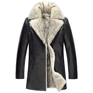Wolf Fur Coat >> Mens Sheepskin Shearling Jacket Wolf Fur Liner Mens Fur Coat Leather