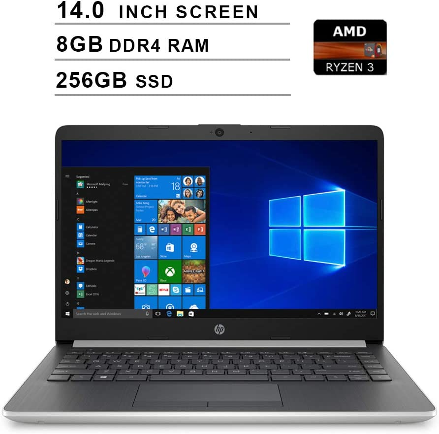 2020 HP 14-inch HD Premium Laptop PC, AMD Ryzen 3 3200U Processor, 8GB DDR4 Memory, 256GB SSD, Bluetooth, Windows 10, Silver (Non-Touch)