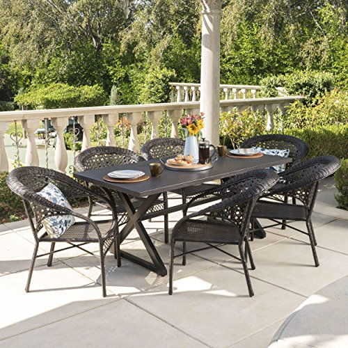Christopher Knight Home Solloom Outdoor 7 Piece Multibrown Wicker Dining Set with Rectangular Brown Aluminum Table
