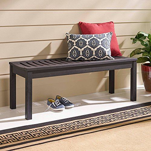 - Modern Backless Outdoor Bench Made With Solid FSC Certified Hardwood, Dark Brown, Weather-Resistant Teak Oil Finish, Galvanized Steel Hardware, Wood Slats Using Mortise-And-Tenon Construction