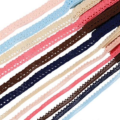 Laribbons 1/4'' and 5/8'' Cotton Lace Ribbon Trim Pattern Gift Wrap Decor Ideas 12 2 (Lace Trim Japan)