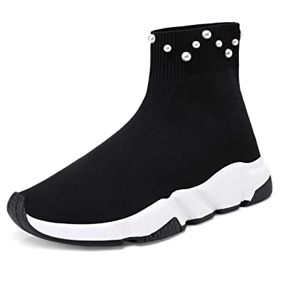 b8d69a7c890 onlymaker Women s Fashion High-Top Stretchy Flyknit Sock Sneakers Pearls  Studded Pull On Ankle Sock