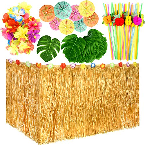 TUPARKA 149 Pcs Hawaiian Tropical Party Decoration Set with 9ft Hawaiian Grass Table Skirt, Tropical Leaves, Hawaiian Flowers, Umbrella Picks and Fruit Straws for Jungle Beach Aloha Theme Luau -