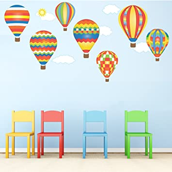 Hot air balloons wall decals red blue yellow removable reusable peel stick