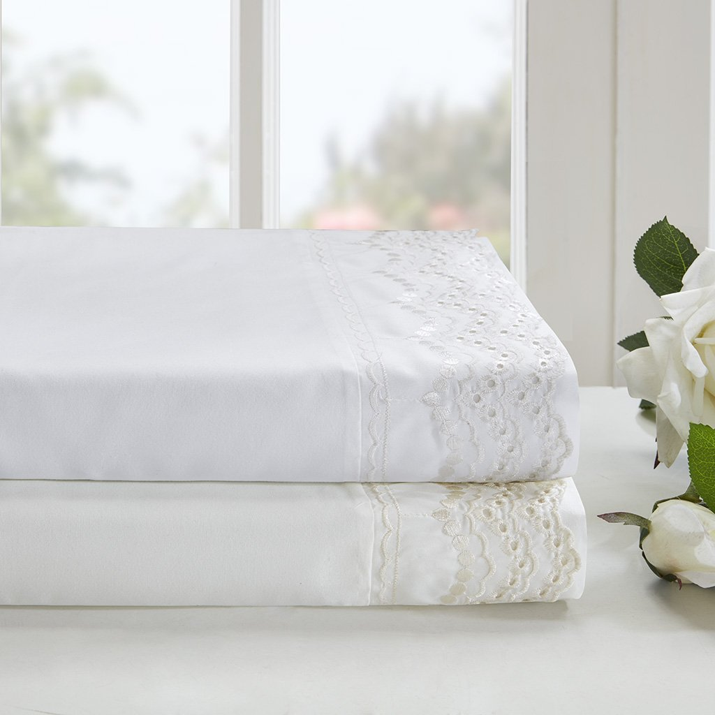 Madison Park Scalloped White Natural Sheet Set, Cottage/Country Bed Sheets Queen, Bed Sheets Set 6-Piece Include Flat Sheet, Fitted Sheet & 4 Pillowcases