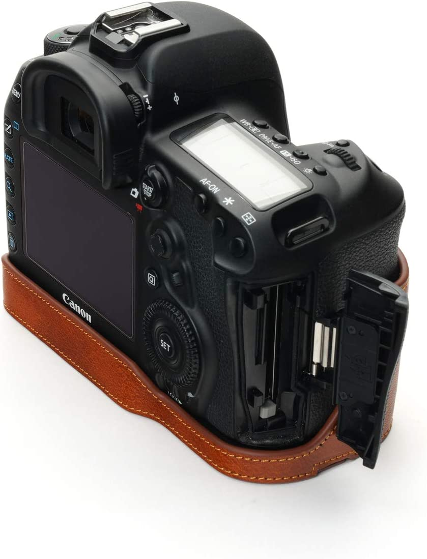 Black Hand Strap 5D Mark IV Camera Case BolinUS Handmade Genuine Real Leather Half Camera Case Bag Cover for Canon Eos 5D Mark IV Camera Bottom Opening Version