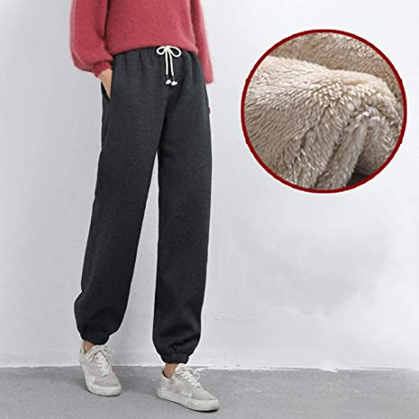 Lady Winter Sweatpants Fleece Jogger Pants Casual Lined Harem Trouser Drawstring