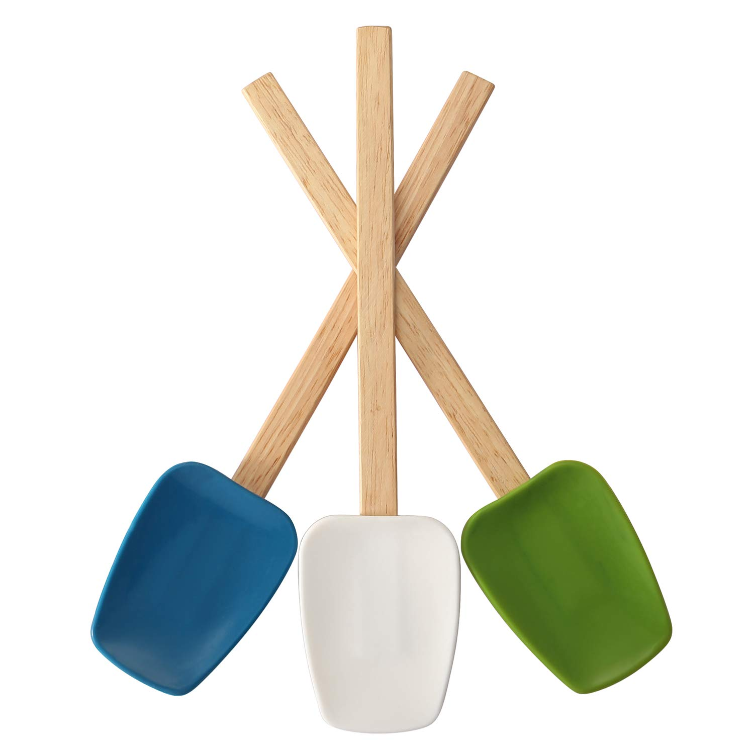 Spatulas silicone heat resistant with wood handle, 3 piece set-blue green white