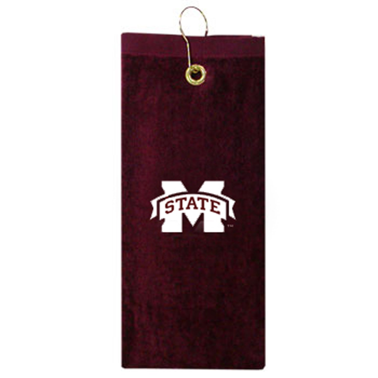 Team Golf NCAA Mississippi State Bulldogs Embroidered Golf Towel Checkered Scrubber Design Embroidered Logo