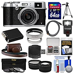 Fujifilm X100T Digital Camera with 64GB Card + Case + Flash + Battery + Tripod + Tele/Wide Lenses Kit