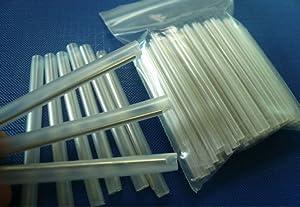 60mm Clear PE Heat Shrinkable Tube Fiber Optical Cable 2.6mm Dia Fusion Splice Protection Sleeve 100pcs