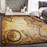 ALAZA Old Compass on Vintage World Map Area Rug Rugs for Living Room Bedroom 7' x 5'