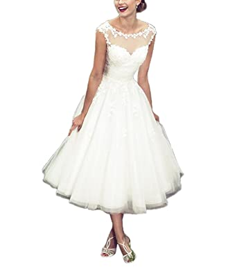 ABaowedding Womens Lace Applique Tea-Length A-line Formal Prom Dress Size 2 Ivory