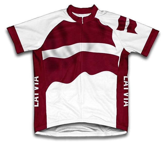 Amazon.com: ScudoPro Latvia Flag Short Sleeve Cycling Jersey ...