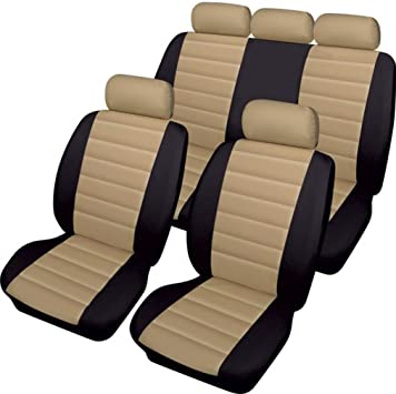Cream Beige Leather Look Car Seat Covers Cover Set For Skoda Octavia 2004-2012