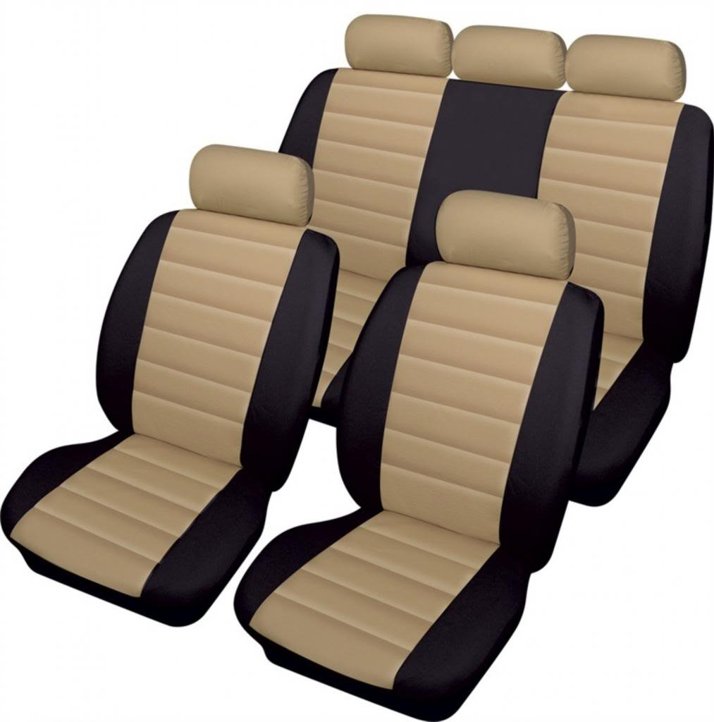 WLW Easy Fit Leather Look Sporty Beige//Black Styling Cream Car Seat Covers