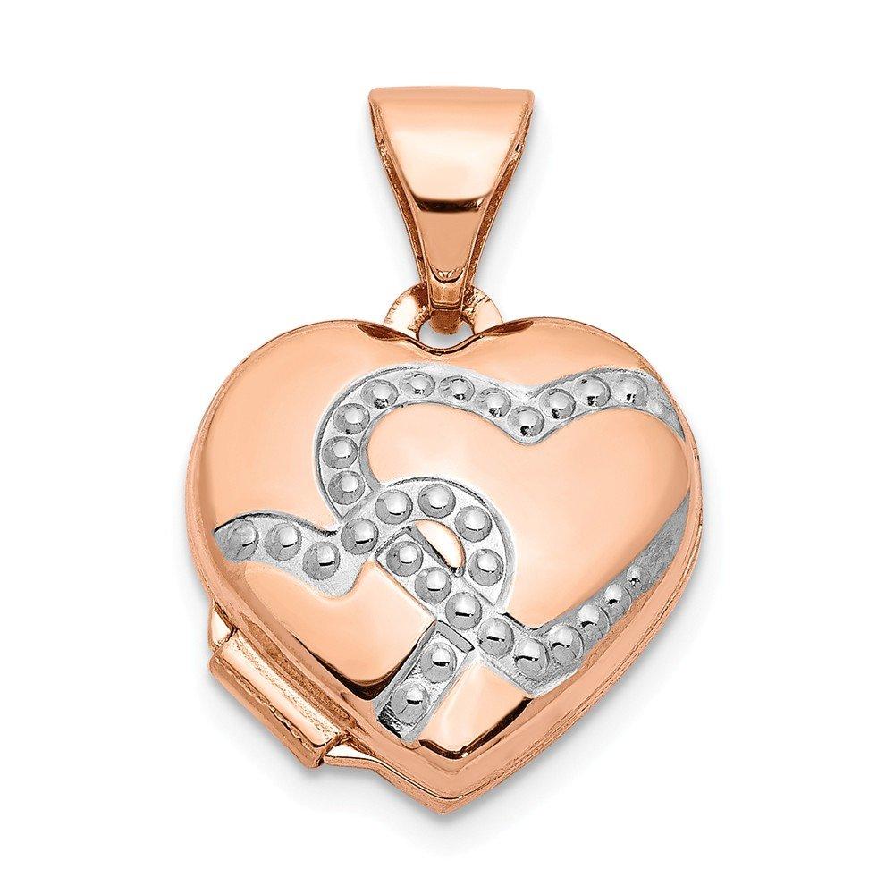 Mia Diamonds 14k Rose Gold with Rhodium 12mm Heart Locket