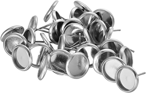 HOUSWEETY 30pcs Stainless Steel Stud Earring Cabochon Setting Post Cup Fit for