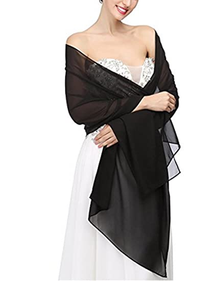 069e6c34f99a2 AngelaLove Chiffon Bridal Wedding Shawl Wrap Prom Evening Dress Stole  Scarves (Black)