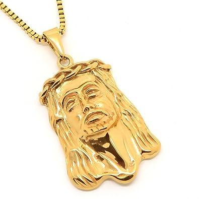 BOBIJOO Jewelry - Pendentif Tête de Jésus Doré Christ Acier Or Gitan  Voyageur + Chaîne 60cm 4106b8ebbda