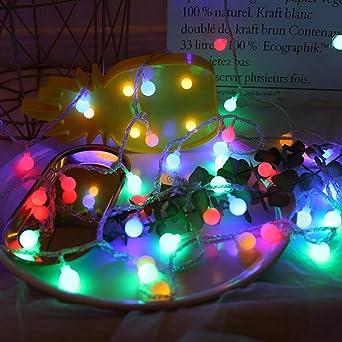 Led Linternas Cadena Jardín Exterior Cuento De Hadas Luces Verano Jardín Lámpara Decorativa Usb Batería 20 Luces Led Bola Helada Luces Cadena Día De Navidad@Color 1.5 M 10 Batería Ligera: Amazon.es: Iluminación
