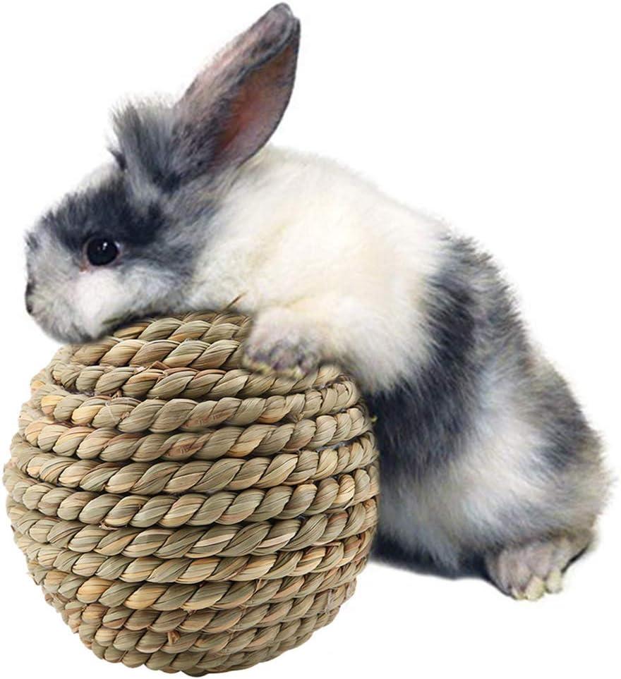 La Bola Natural Paja Hierba, Loro del Juguete del Animal Doméstico Que Roe Los Juguetes del pie del Conejo de Las Bolas del Juguete para el Accesorio Dental de la Jaula de la Salud