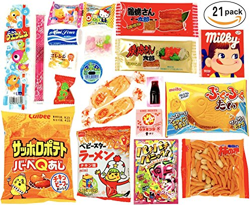 Japanese Snacks 21 set Candy Bulk Box Dagashi Umaibo Snack Gumi potato Chip Kitty chocolate