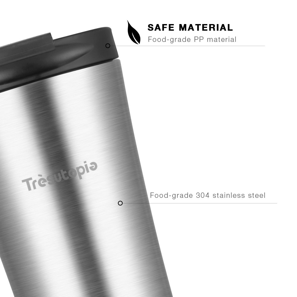 Travel Mug Leak Proof, Trèsutopia Hekla Double Wall Insulated Stainless Steel Travel Mug Keep Drinks Hot or Cold with Leak-Proof PP Lid, 14 oz, One-hand Operation
